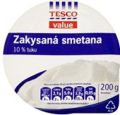 Smetana zakysaná Tesco Value 10%